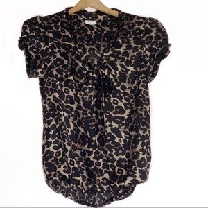 DYNAMITE Leopard Cheetah Print V-neck Bow Blouse